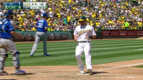 KC@OAK: Semien adds to the lead with a sac fly