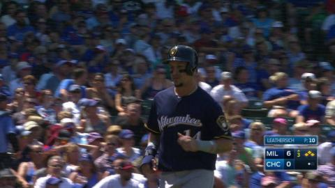 MIL@CHC: Arcia forces in a run with a free pass