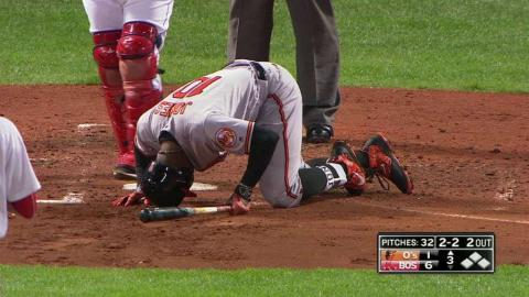 BAL@BOS: Jones fouls pitch off foot, remains in game