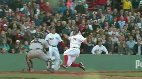 MIN@BOS: Relay throw nabs Napoli at home plate