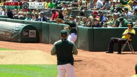 LAA@OAK: Vogt gets ready to come in for Maxwell