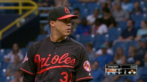 BAL@TB: Jimenez strikes out Smith in the 2nd inning