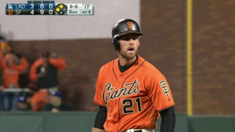 LAD@SF: Gillaspie hammers a two-run double to right