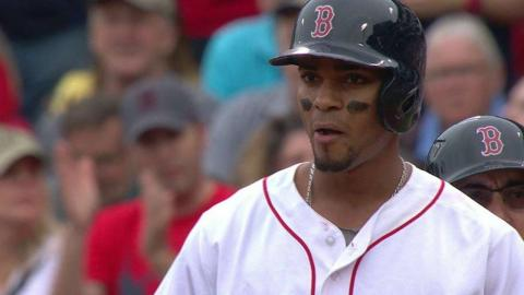 CLE@BOS: Bogaerts drives home a run with a single