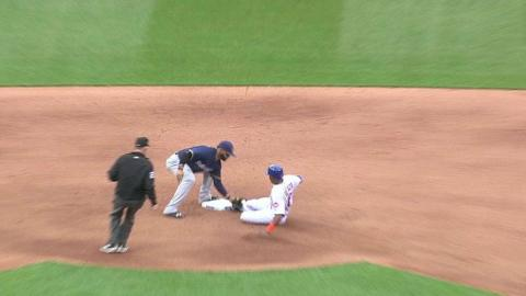 MIL@NYM: Brewers turn 3-3-6 double play to end 5th