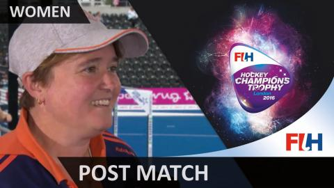 Netherlands coach Alysson Annan gives her thoughts about the match against Argentina #HCT2016