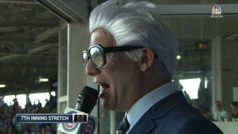 TEX@CHC: Dempster sings as Harry Caray during stretch