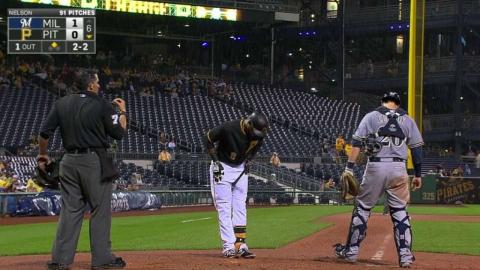MIL@PIT: Marte connects with foul ball twice on swing