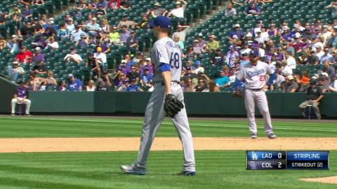 LAD@COL: Stripling retires Blackmon with a strikeout