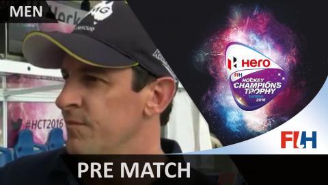 AUS v BEL Nathan Eglington, Australia's team manager talks to Michael Absalom #HCT2016
