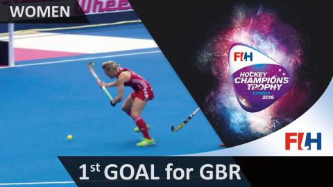 NZL 0-1 GBR Danson opens the scoring with a great shot on the reverse from a tight angle #HCT2016