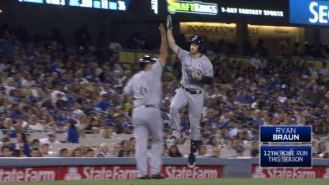 MIL@LAD: Braun hits homer No. 12 to right field