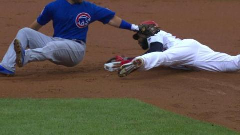 CHC@STL: Heyward steals second, call confirmed in 1st