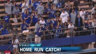 Man Catches Baseball In Stands (VIDEO)