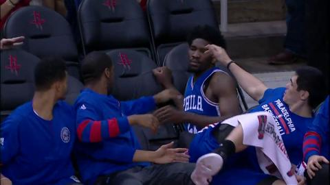Joel Embiid Hustles and Dives Into the 76ers Bench