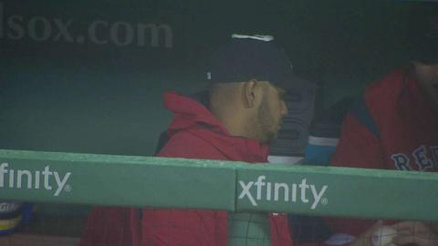 TEX@BOS: Sox prank Rodriguez with paper-towel halo