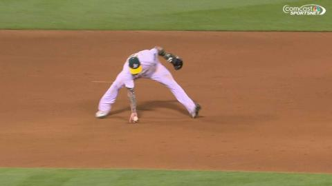 TOR@OAK: Lawrie makes a great play off of deflection