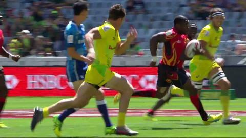 FAN FAVOURITE: Uganda's Lawrence Ssebuliba scores against Australia!