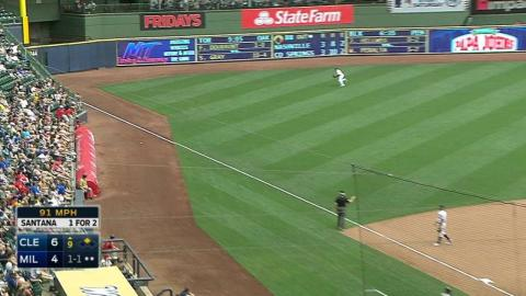 CLE@MIL: Santana hammers an RBI double to left