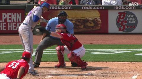 NYM@CIN: Loney hit by pitch after Reds' challenge