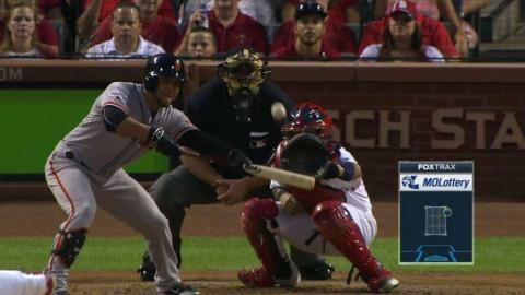 SF@STL: Molina catches pop bunt in foul territory