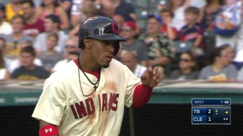 TB@CLE: Santana plates Lindor on fielder's choice