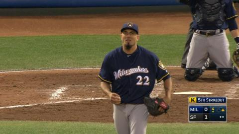 MIL@SF: Garza holds Giants to one in season debut