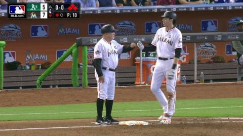 OAK@MIA: Yelich gets plunked with the bases loaded