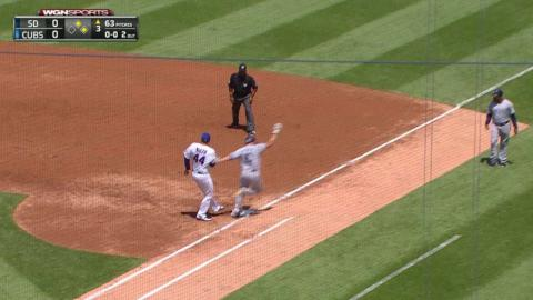 SD@CHC: Cubs turn DP on Rizzo's jumping catch and tag