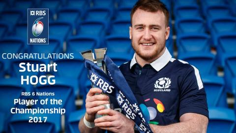 Stuart Hogg reacts to RBS 6 Nations Player of the Championship announcement