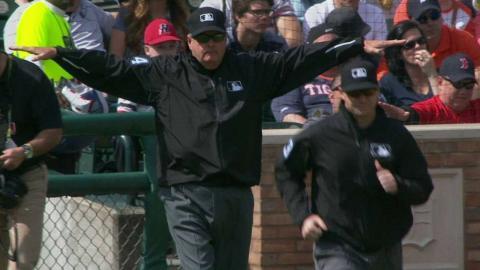 BOS@DET: Hernandez ruled safe at second after review