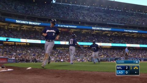 MIL@LAD: Lucroy slices a two-run single to right