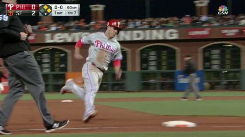 PHI@SF: Blanco singles to get the Phils on the board
