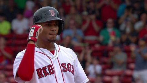 BAL@BOS: Bogaerts hits RBI double deep to outfield