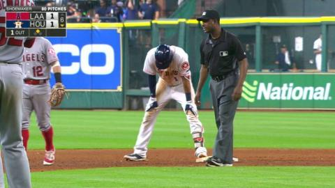 LAA@HOU: Correa doubles after foul ball off his foot