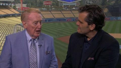 ATL@LAD: Braves booth interviews Vin Scully
