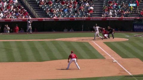 BOS@LAA: Hanley loses grip, bat goes flying