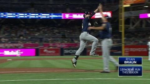 MIL@SD: Braun crushes a solo home run to center field