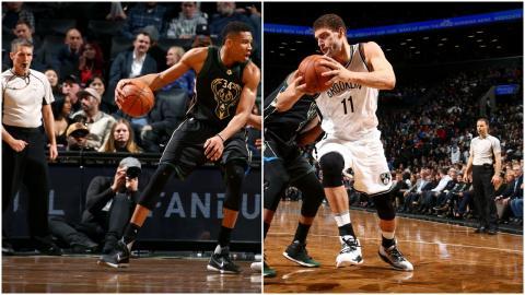 Giannis Antetokounmpo & Brook Lopez Battle in Brooklyn! | 02.15.17