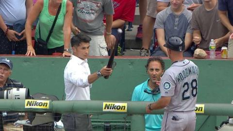 SEA@BOS: Red Sox reporter grabs bat, misses foul ball