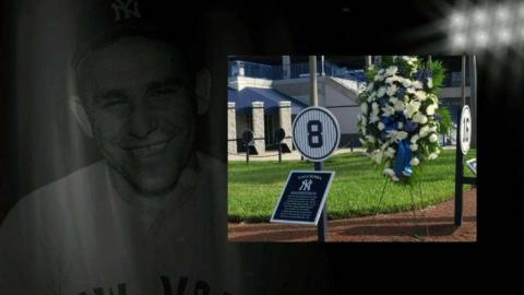 NYY@TOR: Memorials dedicated to Yogi Berra