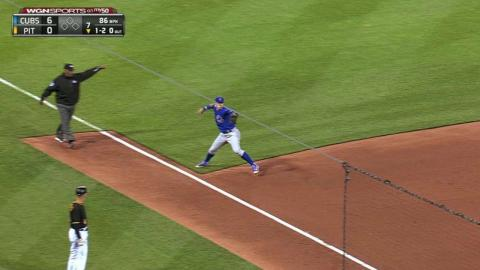 CHC@PIT: Baez fires a great throw for the out