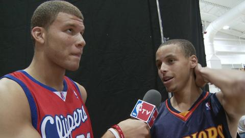 Blake Griffin Interviews Stephen Curry and James Harden at 2009 Rookie Photo Shoot