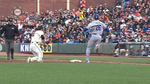 LAD@SF: Utley reaches after out is overturned in 6th