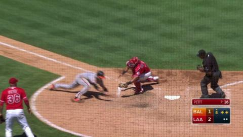 BAL@LAA: Simmons makes a great throw to nab Gentry