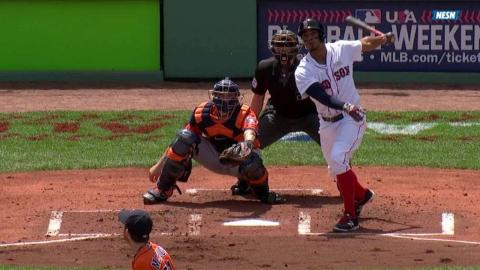 HOU@BOS: Bogaerts drives an ground-rule RBI double