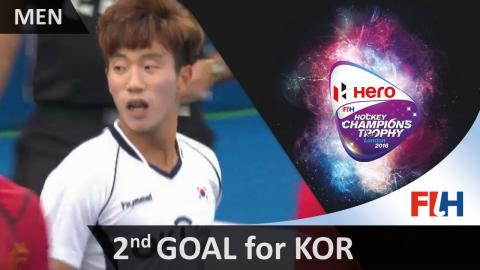BEL 0-2 KOR Manjae Jung takes the long corner quickly and hammers a shot into the corner #HCT2016