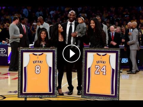timeless design 2730d 7a278 Kobe Bryant No.8   No.24 Jersey Retirement In Los Angeles