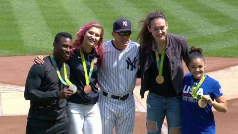 TOR@NYY: Yankees honor four Olympians before the game
