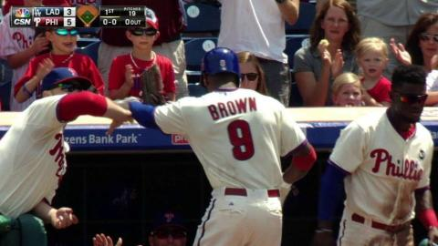 LAD@PHI: Brown belts a three-run shot off Greinke
